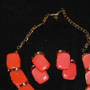 Lisner Jewelry - Lisner Marked Coral Color Choker and Earring Set